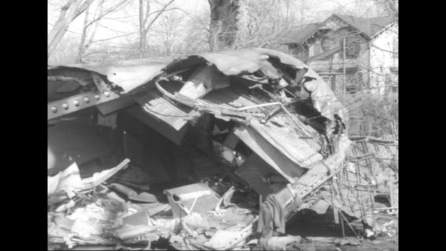wreckage from the crash of national airlines flight 101 in elizabeth new jersey - 1952 stock videos & royalty-free footage