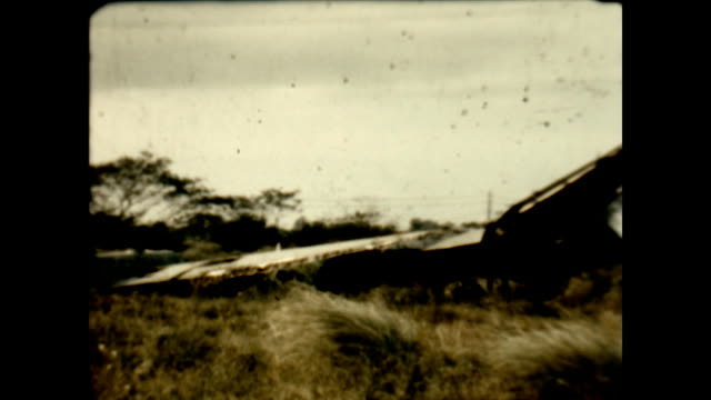 wreckage of japanese bomber plane at clark air field at the end of wwii - luzon stock videos & royalty-free footage