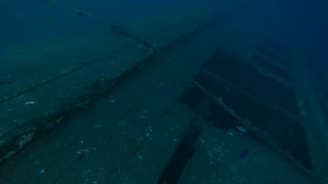 Wrecked woody speedboat