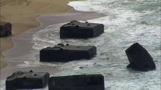 MS, HA, Wrecked World War II sea defenses near Biarritz, Aquitaine, France