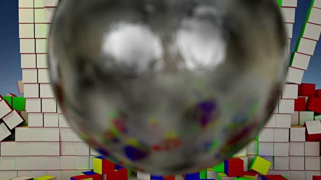 abrißbirne farbe würfel - handcoloriert stock-videos und b-roll-filmmaterial