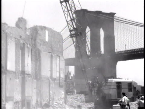 1947 ws wrecking ball demolishing wall / new york, united states - rubble stock videos and b-roll footage