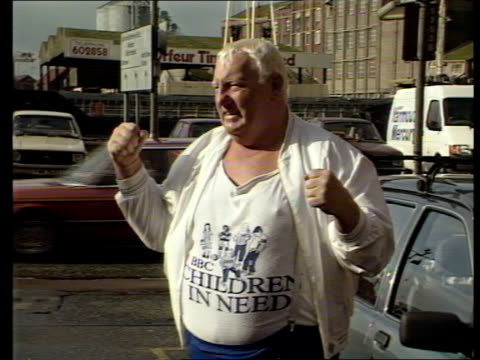 ENGLAND Great Yarmouth MS Big Daddy wearing 'Children In Need' T shirt poses for press in car park CMS Ditto with hands raised clenched MS Ditto with...