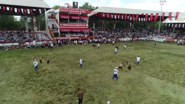 wrestlers compete on the last day competition of the 657th kirkpinar oil wrestling festival at contest field in edirne, turkey on july 15, 2018.... - last day stock videos & royalty-free footage