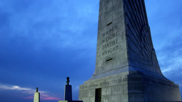 Wright Brothers National Monument at Dusk Tilt Up