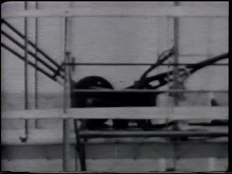 wright's four cylinder water cooled engine glider w/ engine mounted between wings glider empty glider w/ engine from side ms aviation pioneer wilbur... - 1903 stock-videos und b-roll-filmmaterial