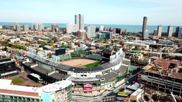 wrigley field home of the cubs - dronebase stock videos & royalty-free footage