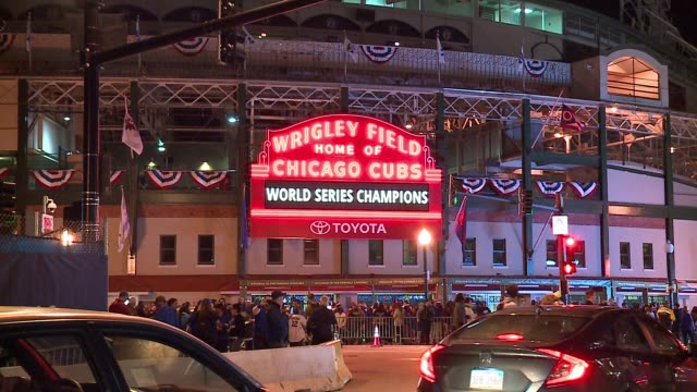 WGN Wrigley Field Marquee Displays 'World Series Champions' on Nov 3 2016the Night After the Cubs won the World Series