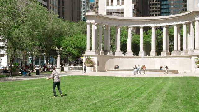 wrigley square, grant park, chicago - グラントパーク点の映像素材/bロール