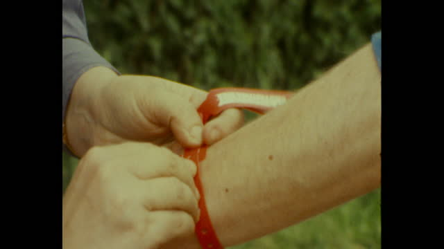 wrist band put on attendee of the 1983 glastonbury festival - festival goer stock videos & royalty-free footage