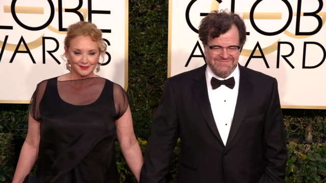 writer/director kenneth lonergan and actress j smithcameron at the 74th annual golden globe awards arrivals at the beverly hilton hotel on january 08... - ビバリーヒルトンホテル点の映像素材/bロール