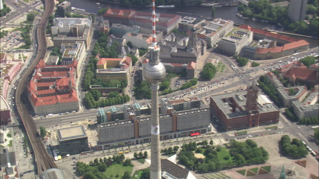 writing on communications tower - alexanderplatz stock videos & royalty-free footage