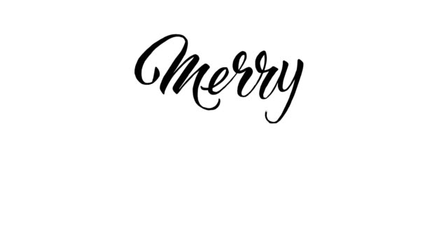 written  merry christmas calligraphy text animation - 2d animation - text stock videos & royalty-free footage