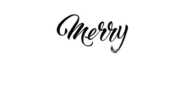 written  merry christmas calligraphy text animation - 2d animation - christmas stock videos & royalty-free footage