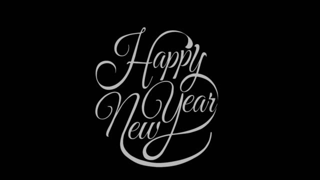 written new year vintage calligraphy text isolated on alpha channel. lettering flourish elements. christmas holiday - christmas poster stock videos & royalty-free footage