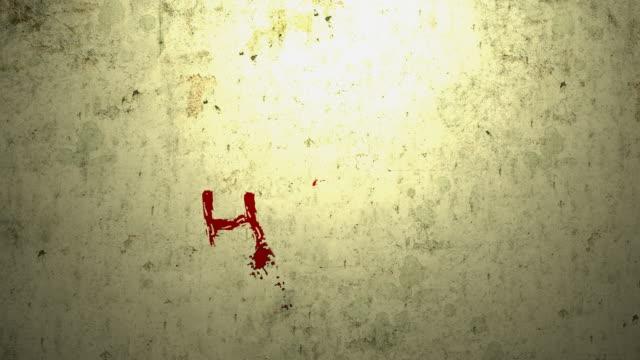 vídeos de stock, filmes e b-roll de ajuda escrito a uma parede - sangue humano