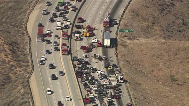 wrong-way driver causes massive freeway pile-up on june 17, 2013 in palmdale, california - 飲酒運転点の映像素材/bロール