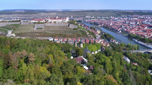 würzburg and marienberg fortress on sunny autumn day - romantic road germany stock videos and b-roll footage