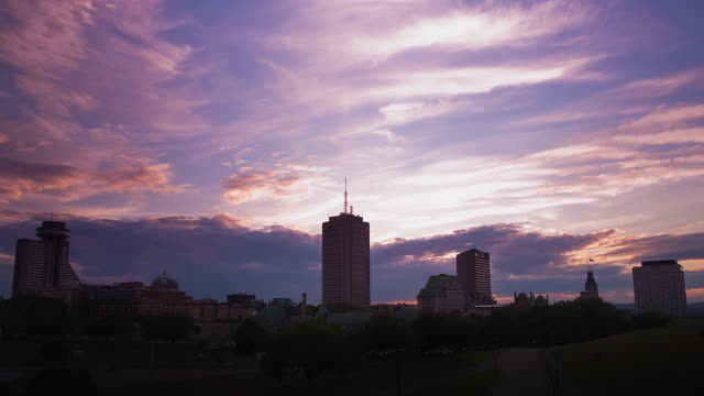 ws t/l sunset on city skyline / quebec city, quebec, canada - quebec stock videos and b-roll footage