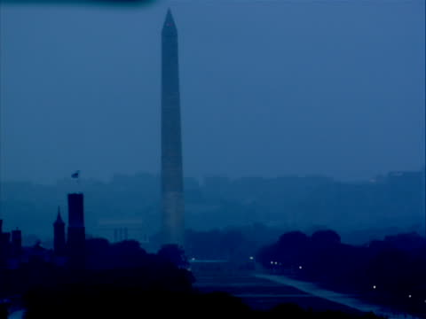 ws washington monument, dark/grey/gray sky; rain falling - hurricane irene stock videos & royalty-free footage