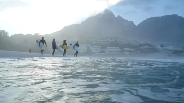 ws_four surfers walking out in the ocean with boards - adventure stock videos & royalty-free footage
