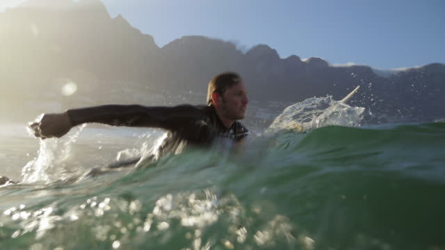 ws_surfer paddling in the water, waiting for the waves - surf video stock e b–roll