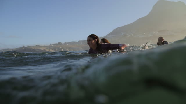ws_surfers paddling in the water, waiting for the waves - diving suit stock videos and b-roll footage