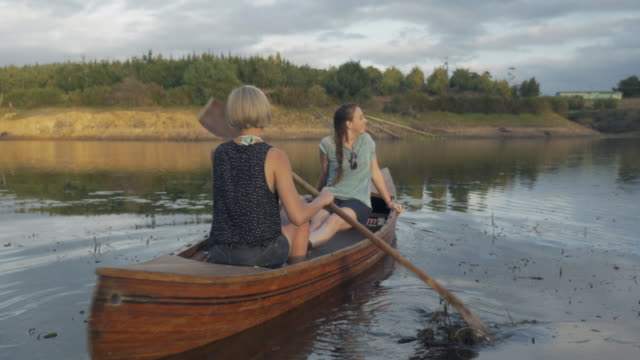 WS_Two young women paddling in a canoe on a lake