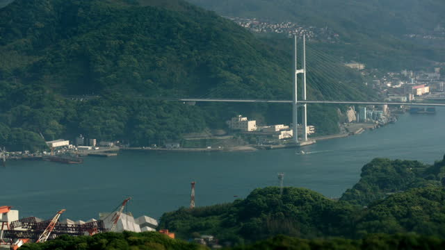 wss nagasaki harbour, japan - suspension bridge stock videos & royalty-free footage