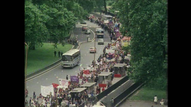 wss people march as part of gay pride, london, uk; 1979 - london england stock videos & royalty-free footage