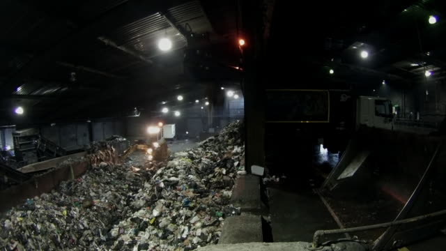 wss rubbish being unloaded at a recycling centre - tyne and wear stock videos & royalty-free footage