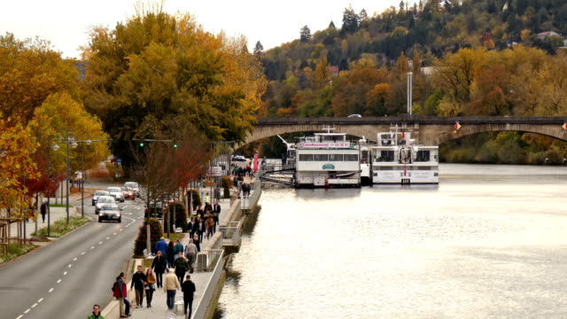 vídeos de stock e filmes b-roll de wuerzburg - barco de turismo
