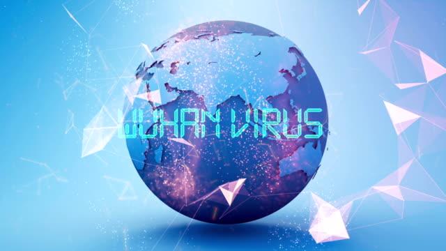 animazione del titolo wuhan coronavirus - vettore della malattia video stock e b–roll