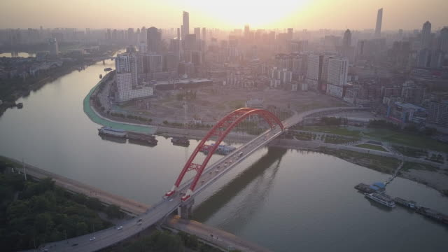 wuhan sunset - river han stock videos & royalty-free footage