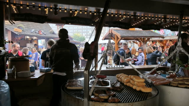 wurst-sausage market stall at food and drink festival - german fast food at it's best, alexanderplatz - german culture stock videos and b-roll footage