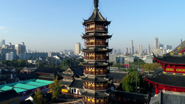 wuxi nanchan temple scenic spot - pagoda stock videos & royalty-free footage