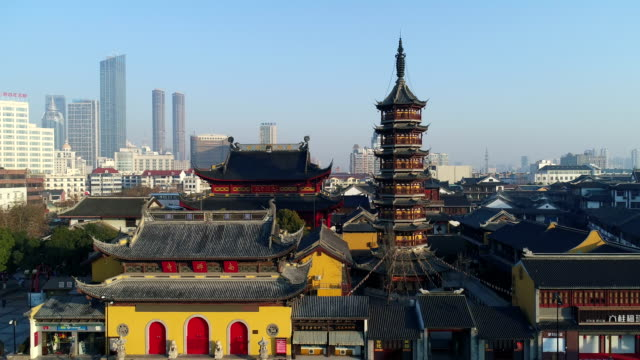 wuxi nanchan temple scenic spot - pagoda stock videos and b-roll footage