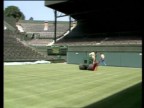 vidéos et rushes de fans arrive england wimbledon ms queue seated zoom in cms girl snoozing in sun ms people walk ms sweepers rl cms strawberries in serving dishes ms... - pelouse