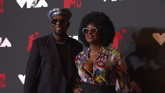 wyclef jean and his wife claudinette jean arrive at the 2021 mtv video music awards at barclays center on september 12, 2021 in the brooklyn borough... - mtv video music awards stock videos & royalty-free footage