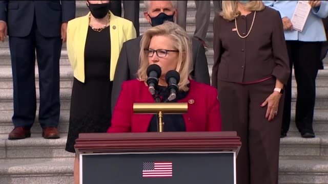 wyoming congresswoman liz cheney says at event accompanied by republicans to introduce their commitment to america program at base of east front... - partisan politics stock videos & royalty-free footage