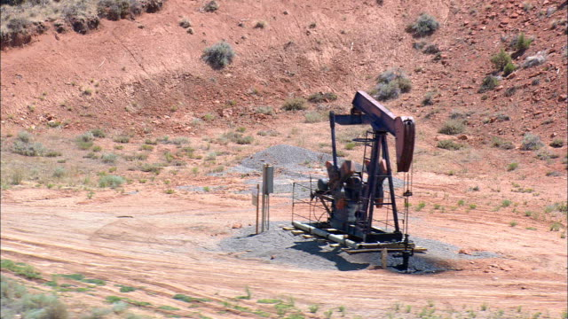 Wyoming Dallas Dome Oil Field  - Aerial View - Wyoming,  Fremont County,  helicopter filming,  aerial video,  cineflex,  establishing shot,  United States