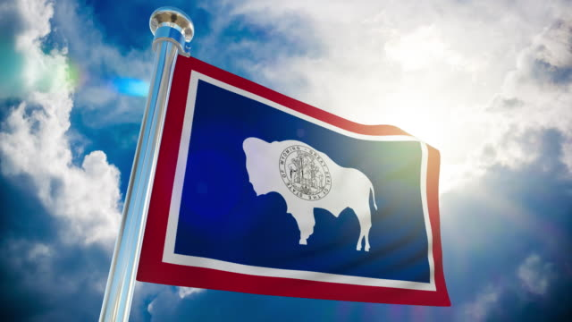4k - wyoming flag | loopable stock video - country geographic area stock videos & royalty-free footage