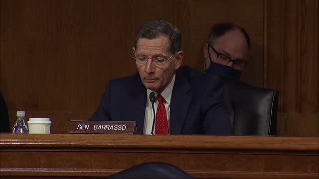 wyoming senator john barrasso and energy secretary nominee jennifer granholm discuss oil and natural gas production at her nomination hearing before... - wyoming stock videos & royalty-free footage