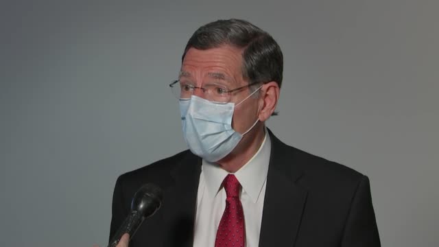wyoming senator john barrasso is asked by a reporter as he removes a mask outside a senate republican caucus meeting if it was an abuse of power by... - wyoming stock videos & royalty-free footage
