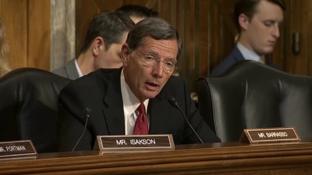 Wyoming Senator John Barrasso questions Secretary of State Mike Pompeo at a Senate Foreign Relations Committee hearing about the possibility of a new...