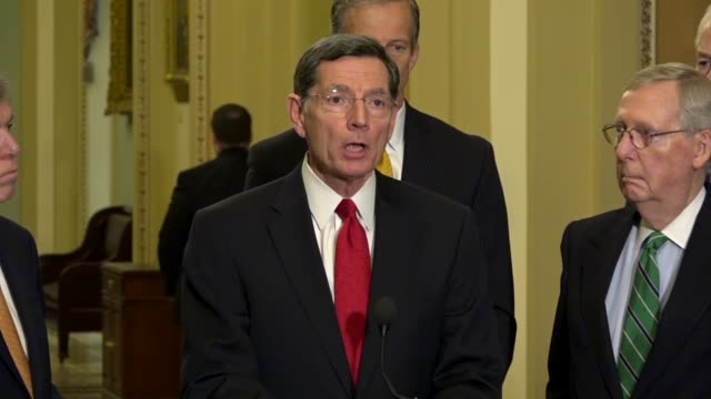 Wyoming Senator John Barrasso says at a weekly briefing that the average time in the United States for permitting new infrastructure projects is six...