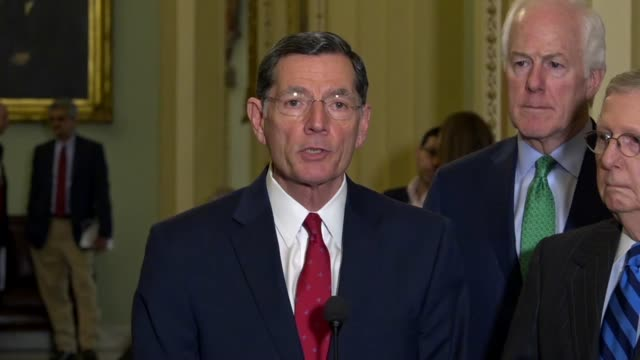 Wyoming Senator John Barrasso tells reporters at a weekly briefing outside the Senate chamber that Mike Pompeo is eminently qualified to become the...