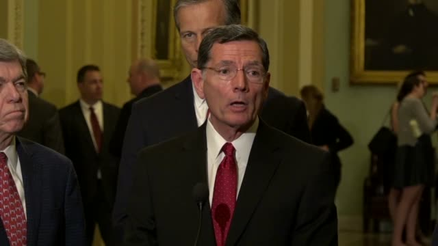 wyoming senator john barrasso tells reporters at a weekly briefing that senate republicans had a productive meeting with president donald trump... - years stock videos and b-roll footage