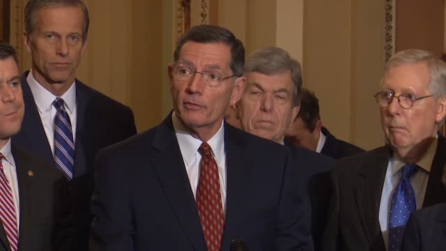 wyoming senator john barrasso tells reporters at a weekly press conference that democrats were obsessed with impeachment in continuing to divide the... - thanksgiving politics stock videos & royalty-free footage