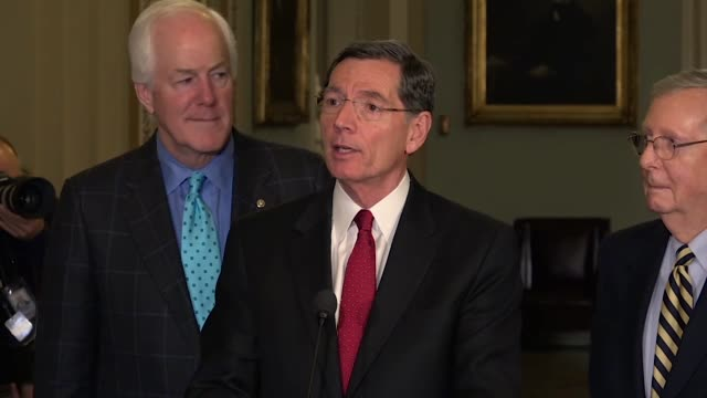 Wyoming Senator John Barrasso tells reporters at a weekly press briefing that after Democrats called conference of tax reform Armageddon the results...